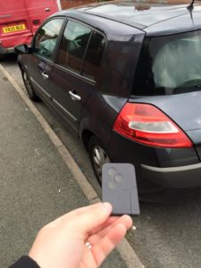 Replacement Renault card key with car